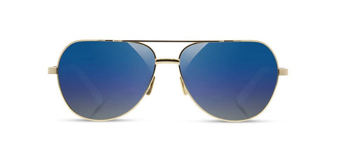Shwood - Redmond Gold Sunglasses / Blue Flash Polarized Lenses