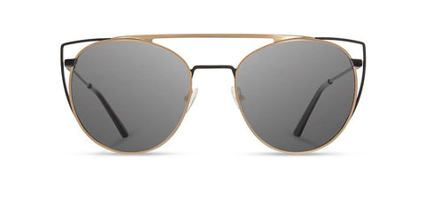 Shwood - Zena Obsidian + Gold Sunglasses / Grey Polarized Lenses