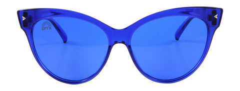 RainbowOPTX - Cat Eye Transparent Blue Sunglasses / Blue Lenses