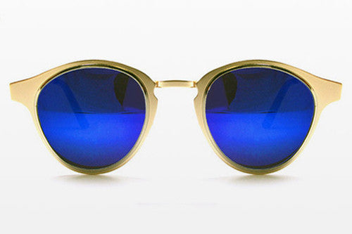 Spitfire - Warp Gold & Silver Sunglasses, Blue Mirror Lenses
