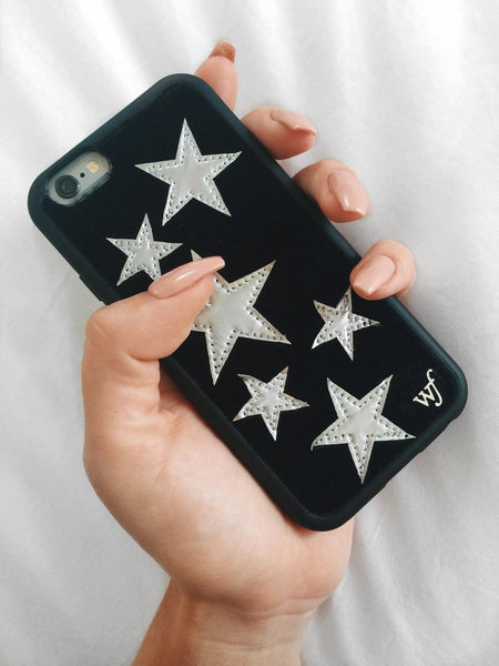 Wildflower - Black Velvet Silver Stars iPhone XR Case