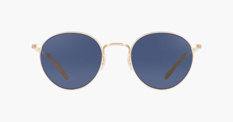 Garrett Leight - Wilson M 49mm Gold Toffee Sunglasses / Semi Flat Navy Lenses