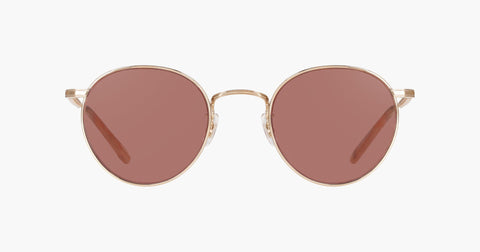 Garrett Leight - Wilson M 49mm Rose Gold Peach Sunglasses / Semi Flat Bordeaux Lenses