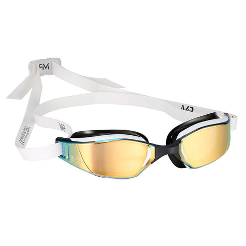 MP Michael Phelps - XCEED White Black Swim Goggles / Titanium Mirror Gold Lenses