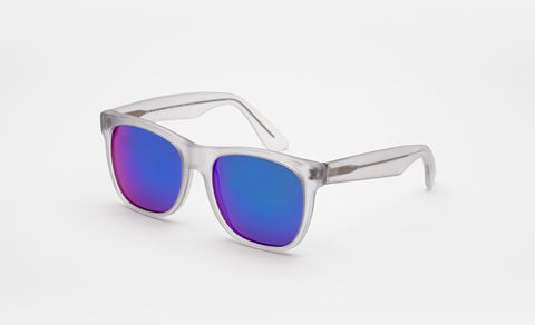 Super Classic Crystal Flash Matte Sunglasses / Blue Mirrored Lenses