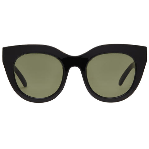 Le Specs - Air Heart Black + Gold Sunglasses / Khaki Mono Lenses