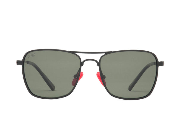 Proof - Overland Aluminum Matte Black Sunglasses / Green Polarized Lenses