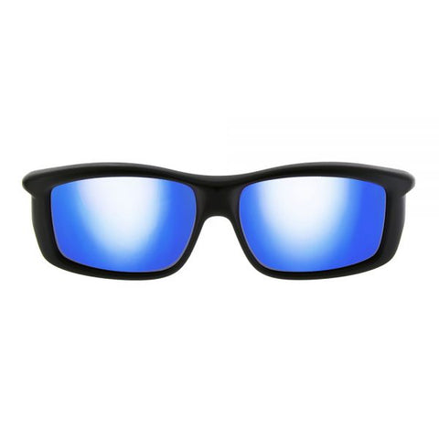 Jonathan Paul Fitovers - Yamba Satin Black Fitover Sunglasses / Polarvue Blue Mirror Lenses