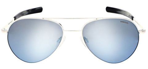 Randolph - Yeager 57mm Satin Silver Bayonet Temple Sunglasses / SkyForce Polarized Mystic Blue Lenses