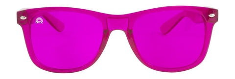 RainbowOPTX - Translucent Transparent Sunglasses / Magenta Lenses