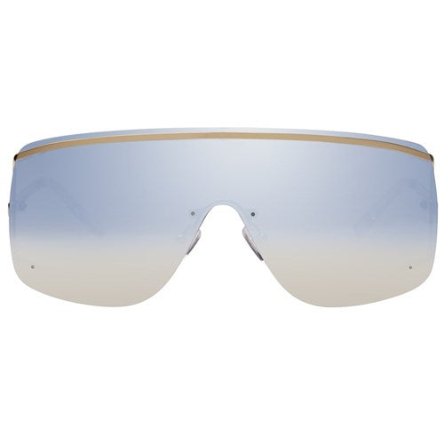 Le Specs - Elysium Bright Gold Sunglasses / Blue Gradient Mirror Lenses