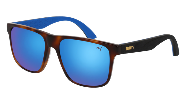 Puma - PU0104S Havana + Black Sunglasses / Blue Lenses