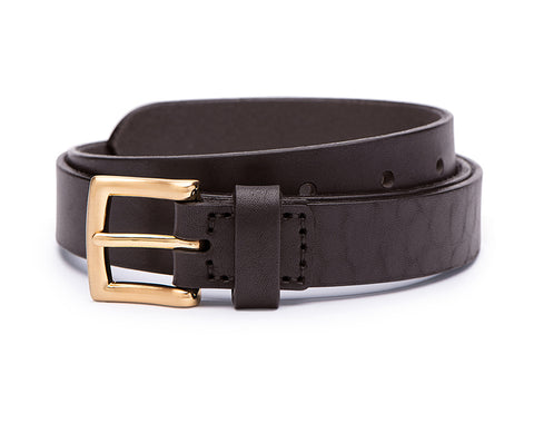 Ezra Arthur - No. 3 Brown Yellow Gold 25mm Leather Belt
