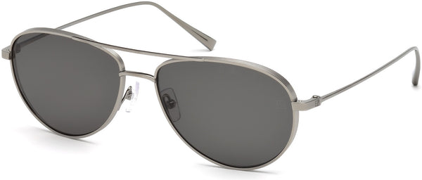 Ermenegildo Zegna - EZ0072 Shiny Dark Ruthenium Sunglasses / Smoke Polarized Lenses