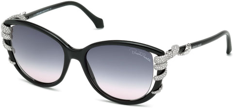 Roberto Cavalli - RC972S Sterope Shiny Black Sunglasses / Gradient Smoke Lenses