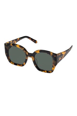 Karen Walker - Check Mate Alternate Fit Crazy Tortoise Sunglasses / Green Mono Lenses