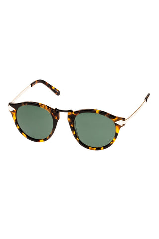 Karen Walker - Helter Skelter Alternate Fit Crazy Tortoise Sunglasses / Gradient Green Lenses