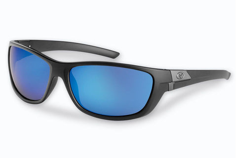 Flying Fisherman - Bahia 7394 Matte Black Sunglasses, Smoke-Blue Mirror Lenses