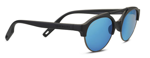 Serengeti - Savio Matte Black Sunglasses / Mineral Polarized 555nm Blue Lenses
