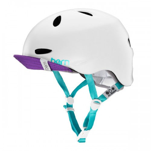 Bern - Berkeley Satin White Multicolor With Flip Visor Bike Helmet