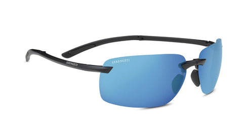 Serengeti - Vernazza Matte Black Sunglasses / Polarized 555nm Blue Lenses