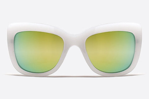 Quay Breath Of Life White / Green Mirror Sunglasses