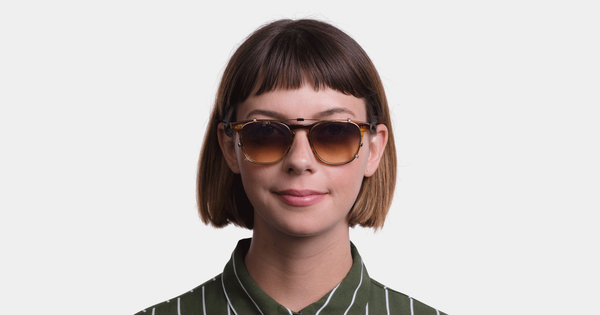 Garrett Leight - Brooks Gold Clip-On Shield / Green Lenses