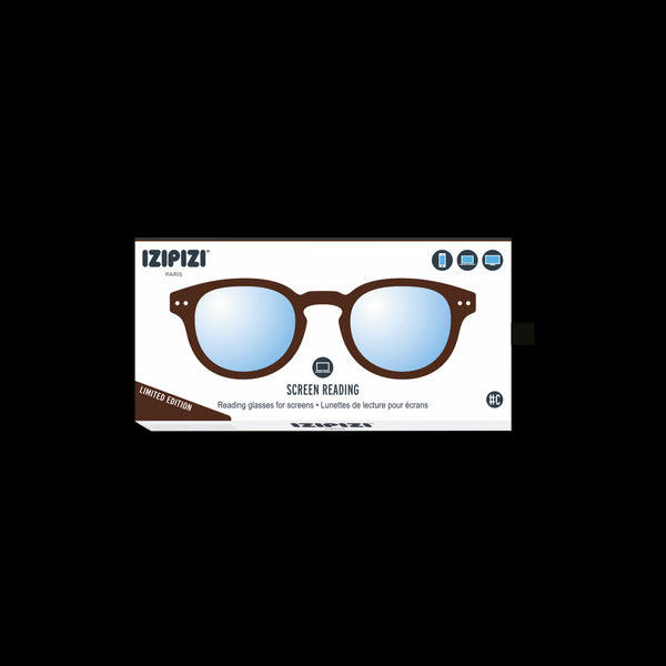 Izipizi - #C Dark Wood Eyeglasses / Screen Blue Light Clear Lenses