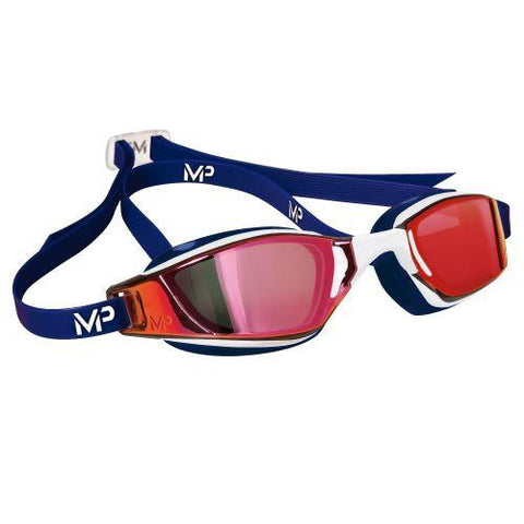 MP Michael Phelps - XCEED USA Special Edition Blue White Swim Goggles / Titanium Mirror Red Lenses