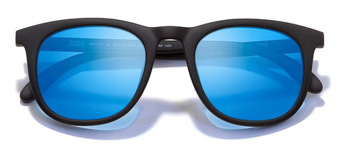 Sunski Seacliffs Black Sunglasses / Aqua Polarized Lenses