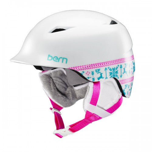 Bern - Camina Satin White Fair Isle Snow Helmet
