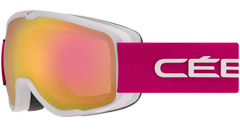 Cebe - Artic Matte White Pink Snow Goggles / Light Rose Flash Mirror Lenses