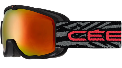 Cebe - Artic Matte Black Red Snow Goggles / Orange Flash Mirror Lenses