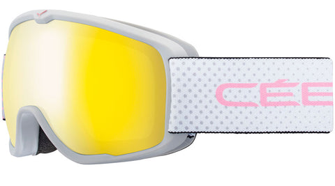 Cebe - Artic Matte Grey Pink Dots Snow Goggles / Yellow Flash Mirror Lenses