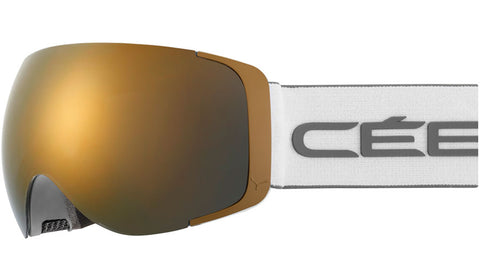 Cebe - Exo OTG Matte White Grey Snow Goggles / Dark Smoke Flash Gold + Amber Flash Mirror Lenses