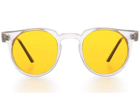 Spitfire Teddy Boy Clear Sunglasses, Yellow Lenses
