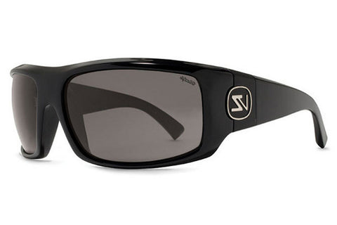 VonZipper - Clutch Black Gloss PBV Sunglasses, Wildlife Vintage Grey Polarized Lenses