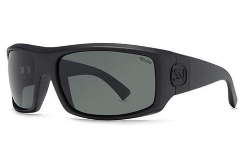 VonZipper - Clutch Black Smoke Satin PSV Sunglasses, Wildlife Vintage Grey Polarized Lenses