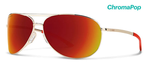 Smith -  Serpico 2 Gold Sunglasses / ChromaPop Sun Red Mirror Lenses