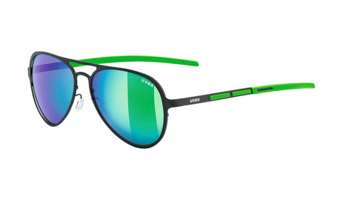 UVEX Sport - LGL 30 Black Green Sunglasses / Polavision Green Mirror Lenses