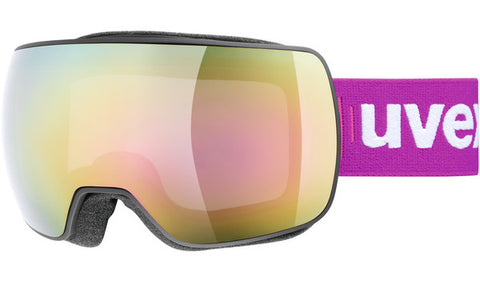 UVEX Sport - Compact FM Black Snow Goggles / Pink Mirror Lenses