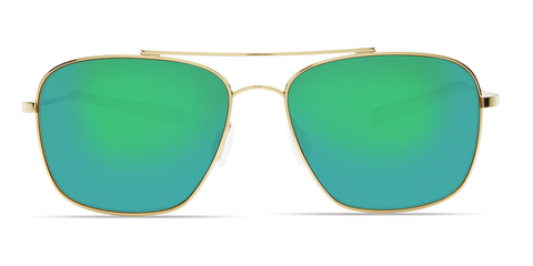 Costa - Canaveral Shiny Gold Sunglasses / Green Polarized Plastic Lenses
