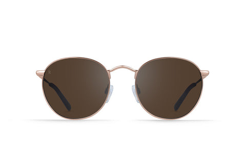 Raen - Benson Rose Gold + Rose Sunglasses, Silver Tri-Reflection Flash Mirror Lenses