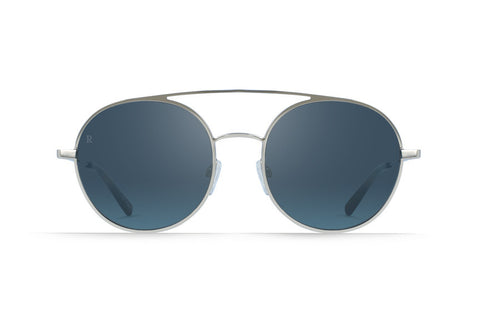 Raen - Scripps Silver + Matte Rootbeer Sunglasses, Blue Tri-Reflection Flash Mirror Lenses