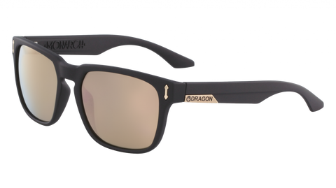 Dragon - Monarch 55mm Matte Black Sunglasses / Rose Gold Lenses