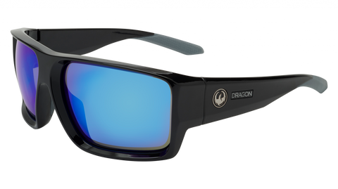 Dragon - Freed 64mm Black Sunglasses / Blue Ion Lenses