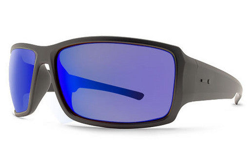 Dot Dash - Exxellerator Soft Charcoal Satin CSL Sunglasses, Blue Chrome Lenses
