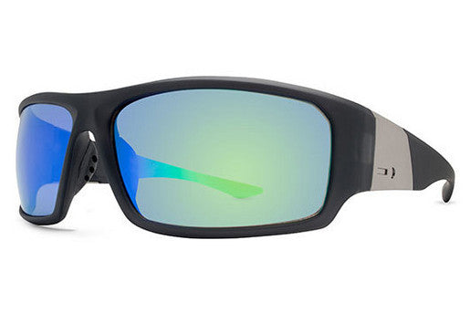 Dot Dash - Destro Soft Charcoal Satin CSG Sunglasses, Green Chrome Lenses