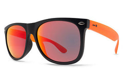 Dot Dash - Kerfuffle Black Orange Trans Satin FBO Sunglasses, Red Chrome Lenses