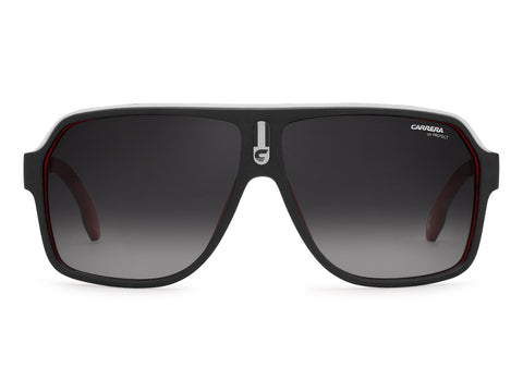 Carrera - 1001 Matte Black Red Sunglasses / Dark Gray Gradient Lenses